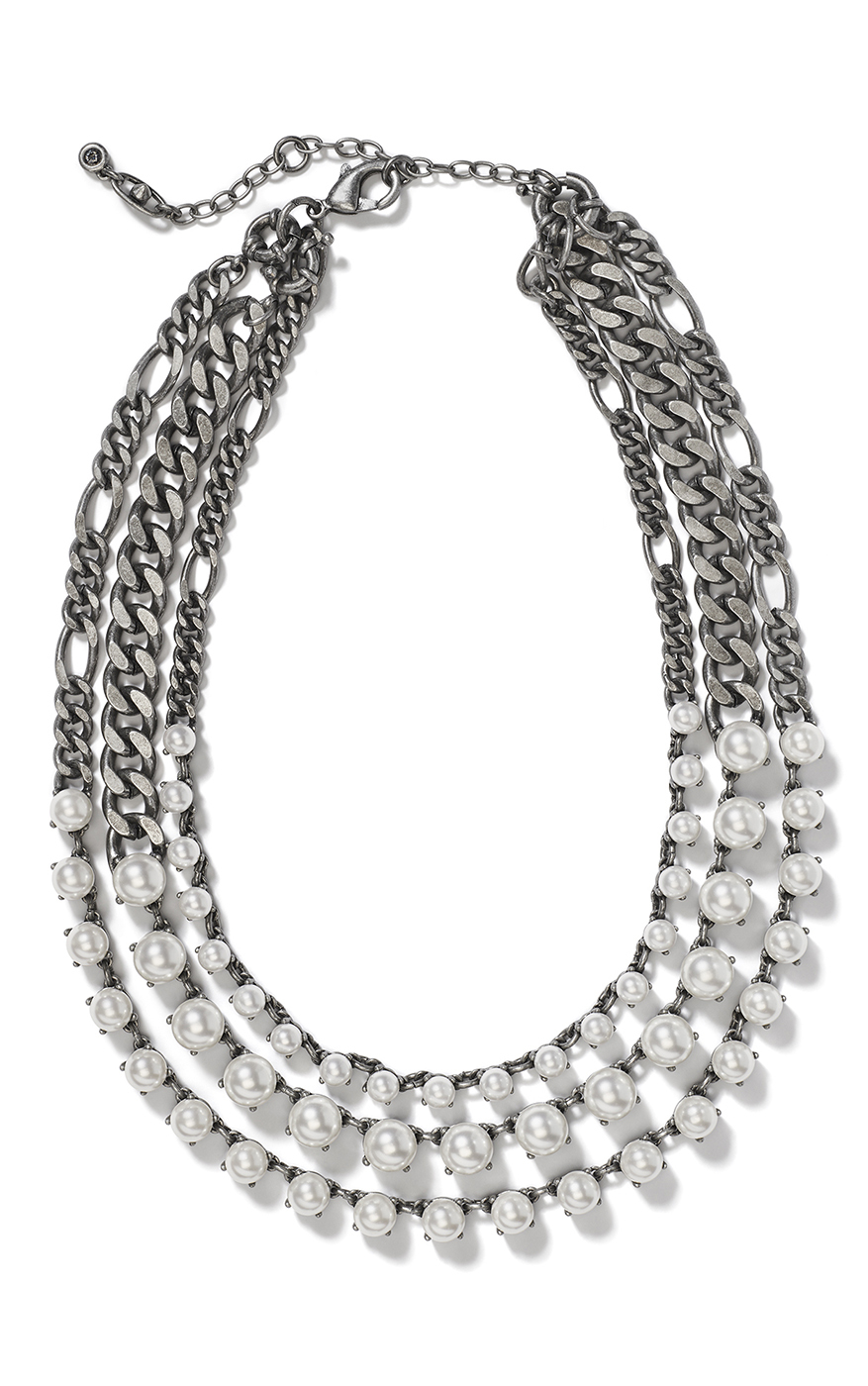 Clutch Necklace in Antique Silver Front