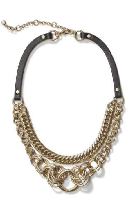 Harness Ring Necklace in Antique Gold Front