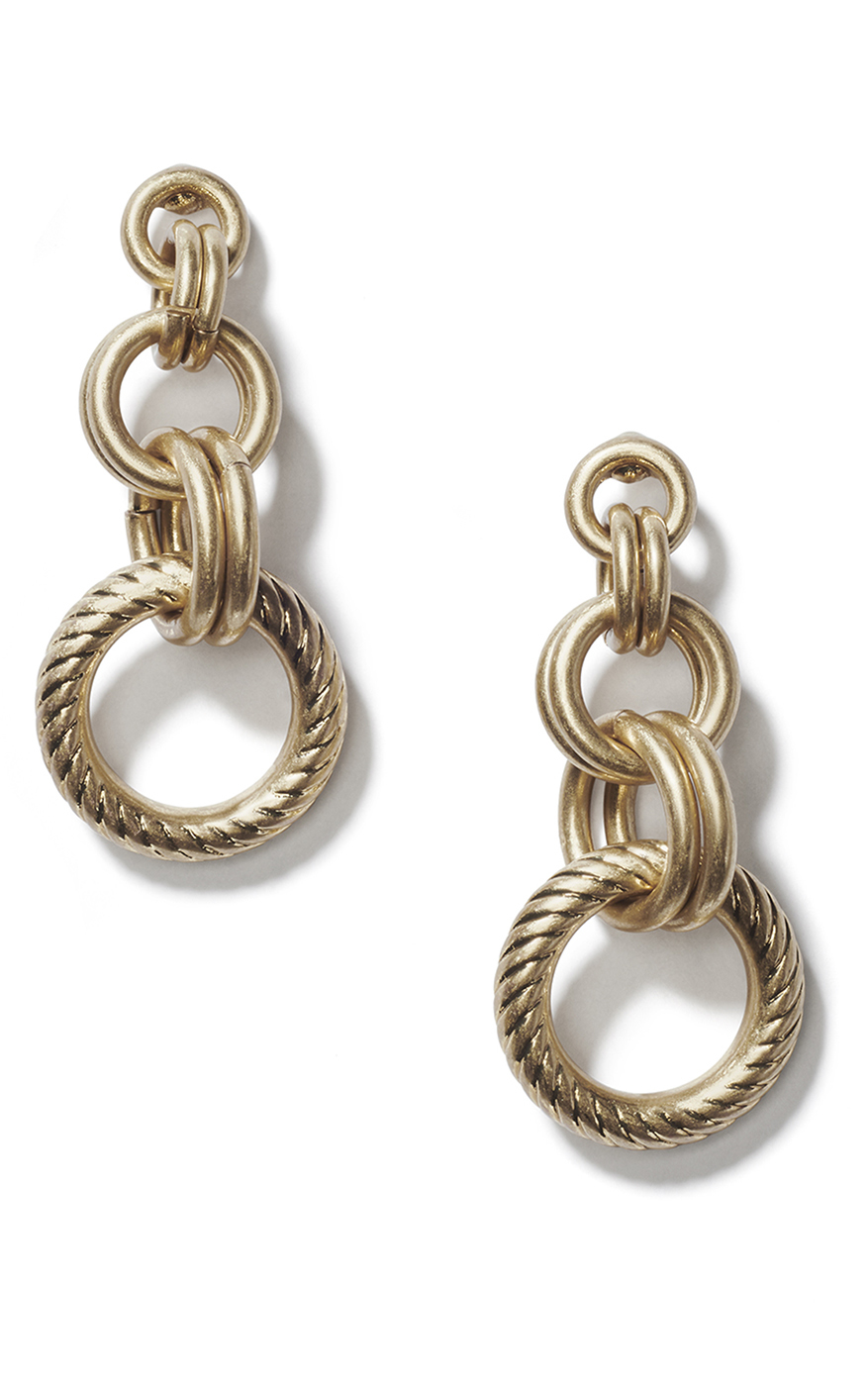 Ring Earrings in Antique Gold Front