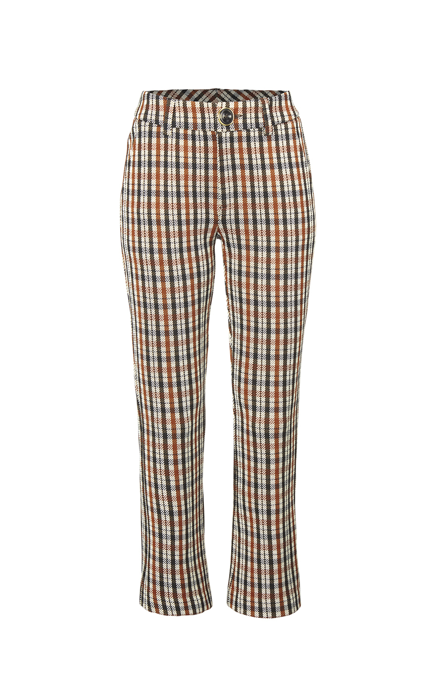 Jazzy Kick Flare in Toffee Plaid Front