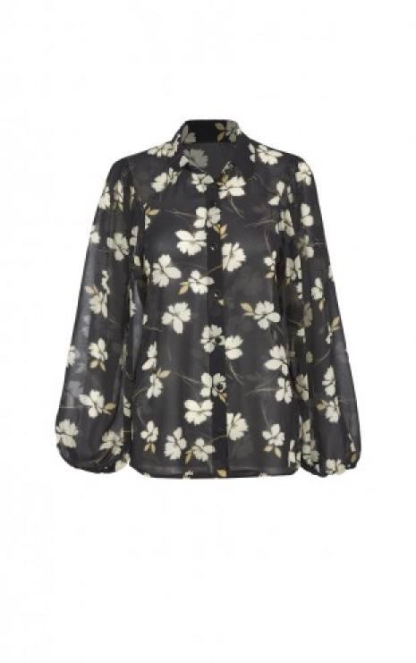 Cosmo Blouse in Ivory Flower Front