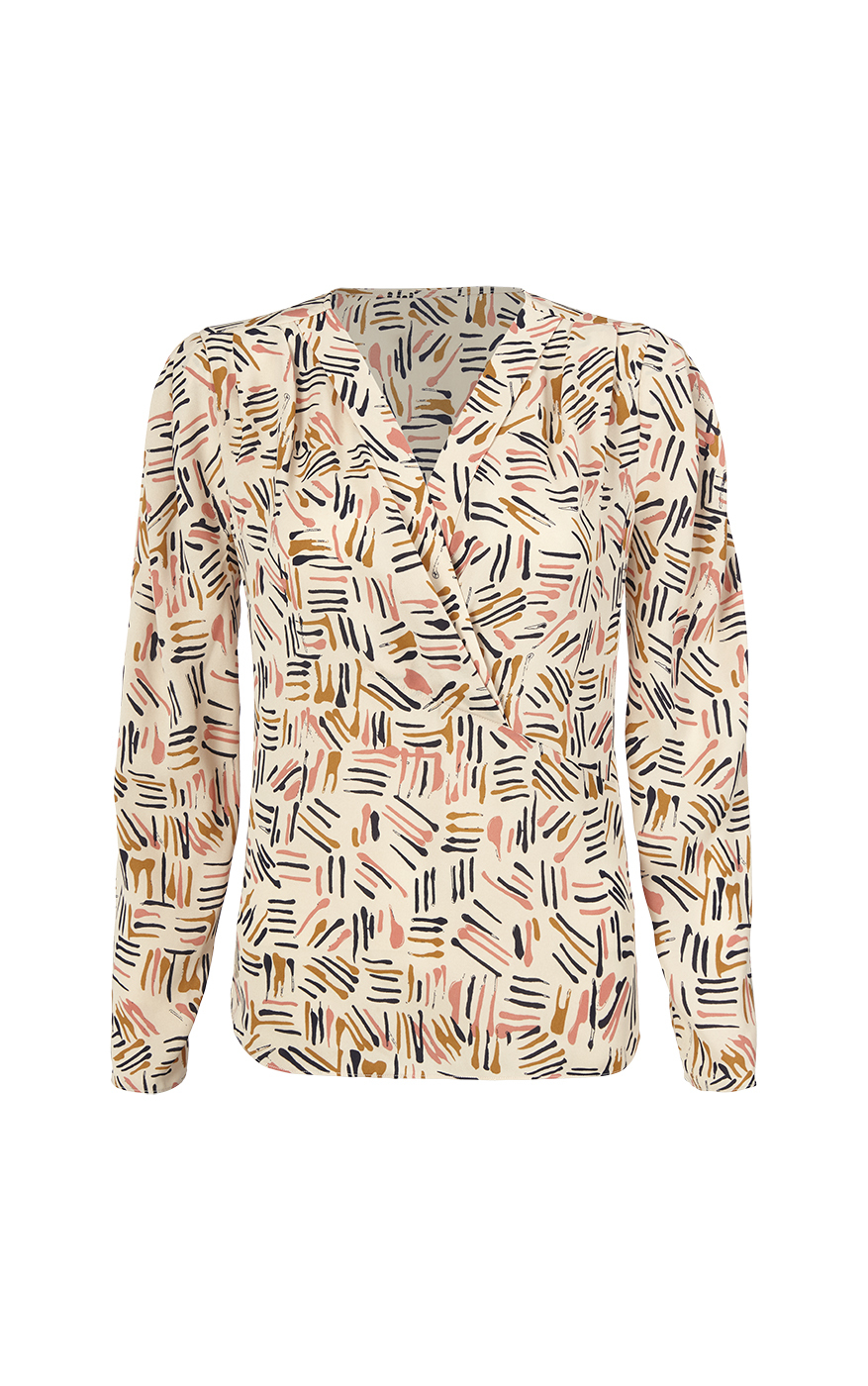Marni Blouse in Line Art Print Front