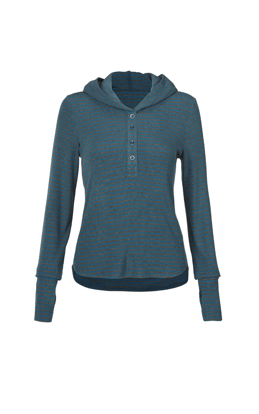 Riff Hoodie in Charcoal and Moroccan Blue Front
