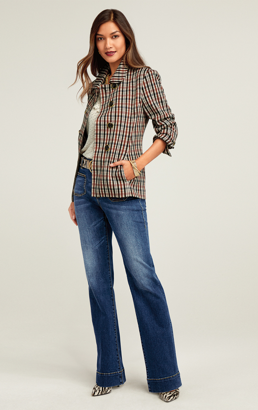 Jazzy Jacket in Toffee Plaid, Patch Pocket in Trader Wash, Morse Code Top in Code Print