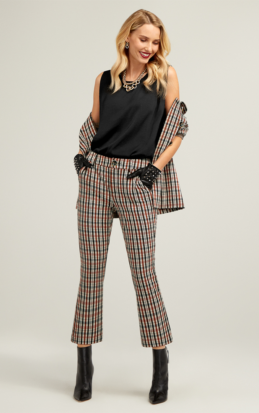 Jazzy Jacket in Toffee Plaid, Jazzy Kick Flare in Toffee Plaid, Complete Top in Black