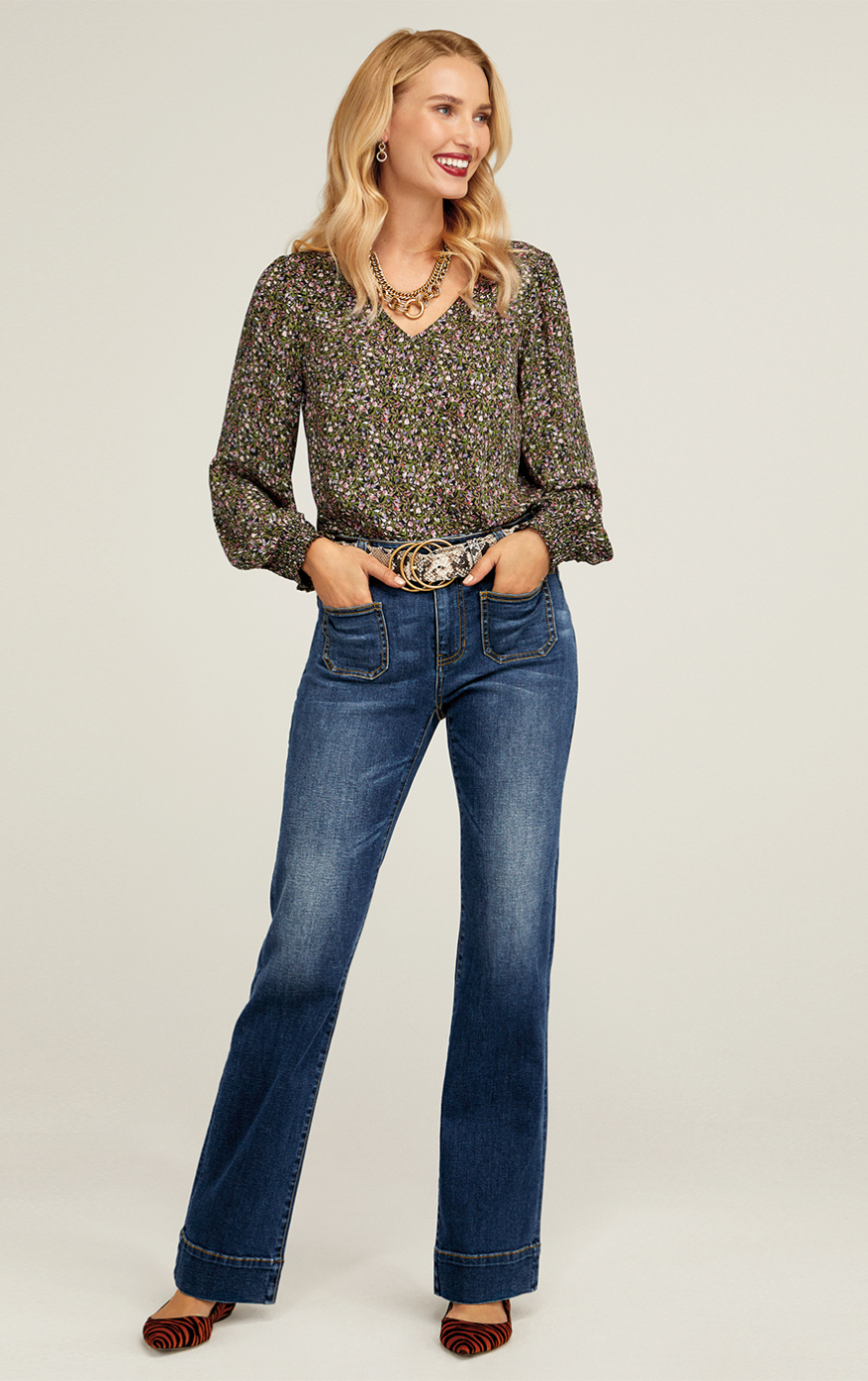 Patch Pocket in Trader Wash, Chorus Blouse in Ditzy Field