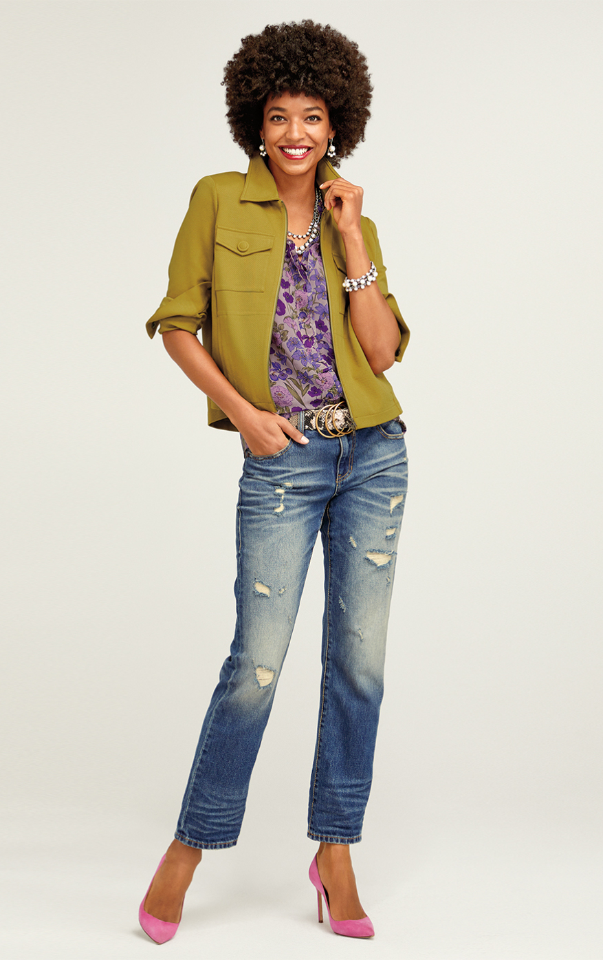 Touring Jacket in Moss, 100% Boyfriend in Craftsman Wash, Trifle Top in Plum Floral, Racerback Cami in Violet
