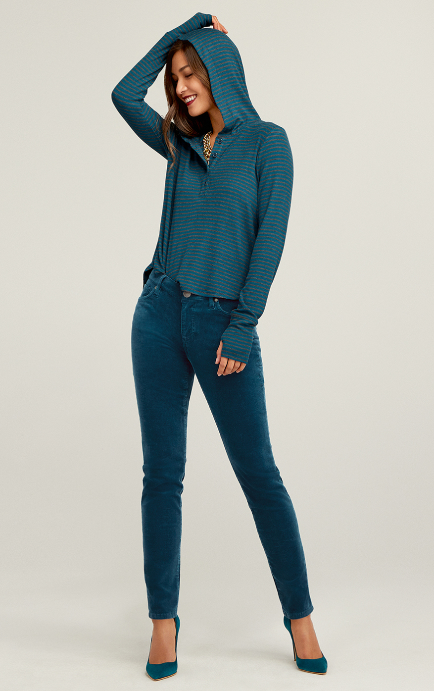 High Skinny in Moroccan Blue, Riff Hoodie in Charcoal and Moroccan Blue