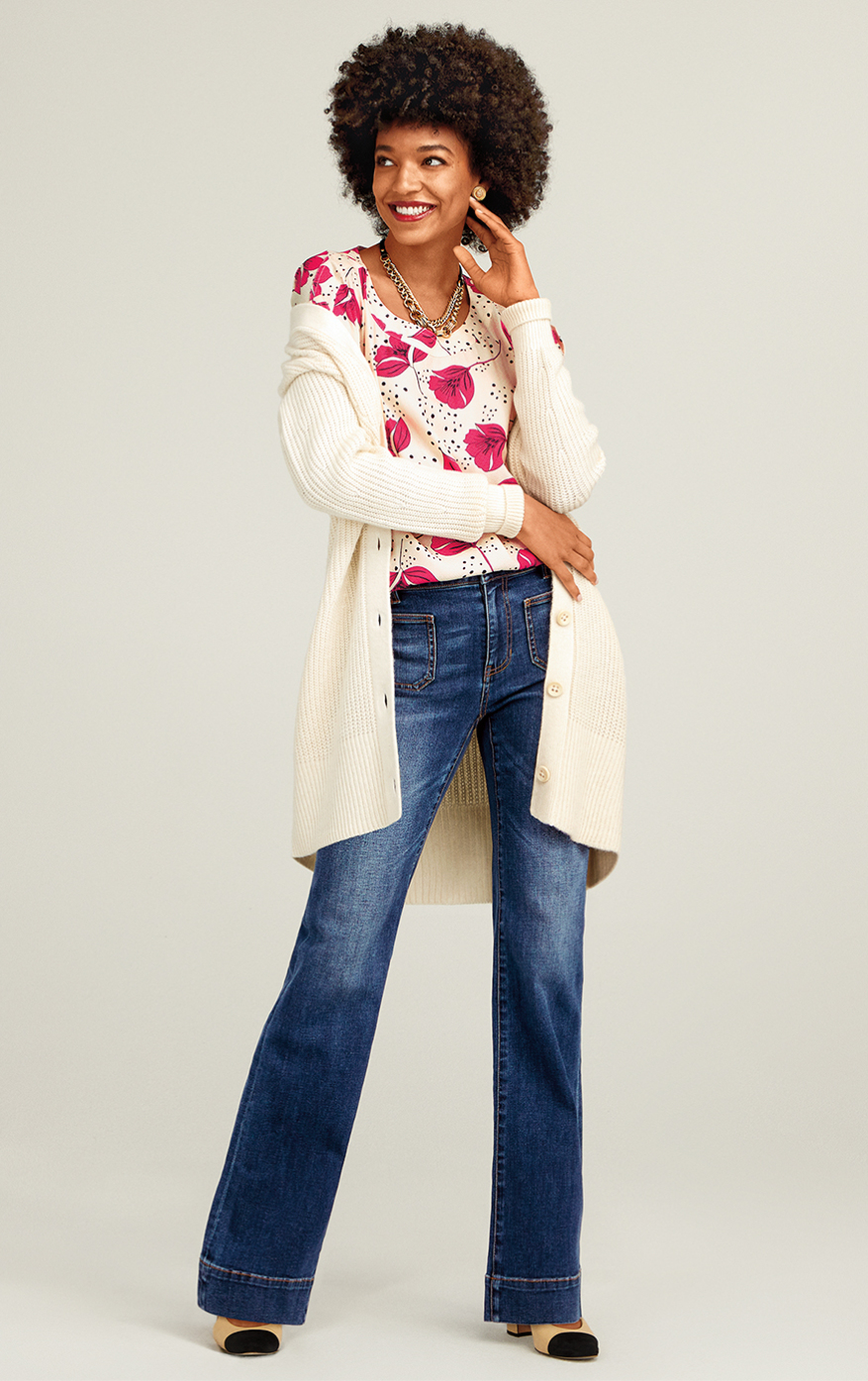 Book Club Cardigan in Ivory, Patch Pocket in Trader Wash, Boxy Top in Whimsy Print