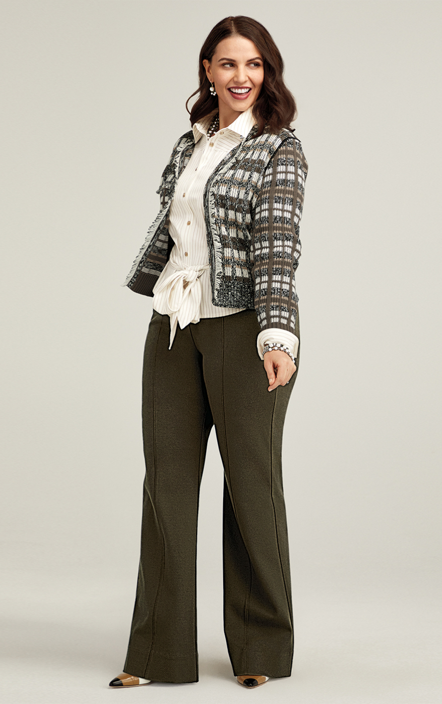 Classic Cardigan in Silver, Academy Trouser in Wren, Tied-Up Shirt in Taupe Stripe
