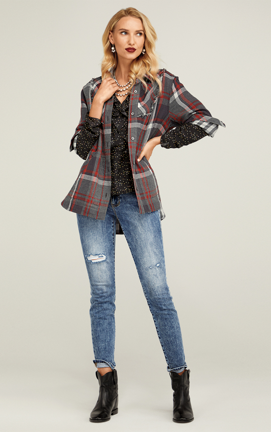 Cinch Skinny in Adventure Wash, Eros Blouse in Baby Hearts, Tavern Shirt in Autumn Plaid