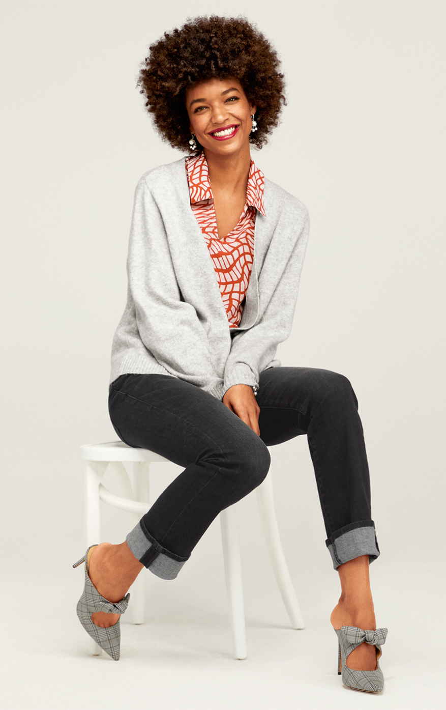 Snug Cardigan in Heather Gray, Button Fly Straight in Carbon, Twirl Top in Russet Twist