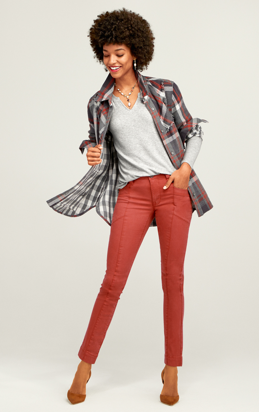 The Explorer in Copper, Tavern Shirt in Autumn Plaid, Simple Tee in Heather Gray